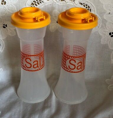 Tupperware Large Hourglass Salt & Pepper Shaker Set Yellow Orange Camping Picnic
