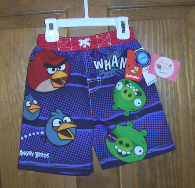 Angry Birds Swim Suit Bathing Trunks Shorts UPF50+Toddler Boys Size 4T NWT Blue