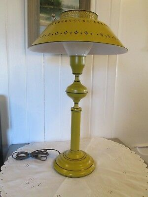 Country French Vintage Table Lamp Tole Mustard Black Reticulated Shade Milk Glas