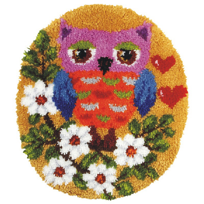 Orchidea Latch Hook Rug Kit - Shaped - Owl - Needlecraft Kits - FREE UK P&P