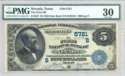 $5 Series 1882 Date Back National Banknote PMG Very Fine 30 Nevada, TX