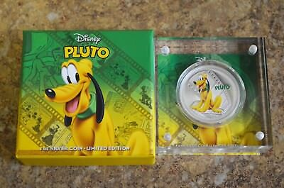 2014 New Zealand Mint Disney Pluto 1oz .999 Silver Colored Proof Coin w/ Box