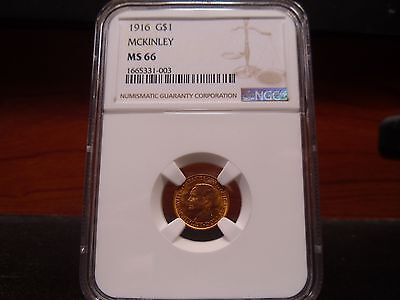 1916 MS66 G$1 McKinley Gold Commemorative Dollar NGC Certified Superb Gem