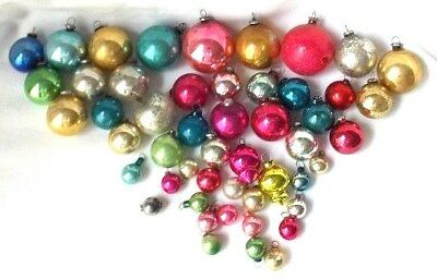 50 Vintage Japan & Shiny Brite Figural Glass Feather Tree Christmas Ornament Lot