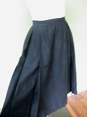 "Vintage Ladies  1950's Black Full Skirt W/ Front Slit Pocket Details/  24"" Waist"
