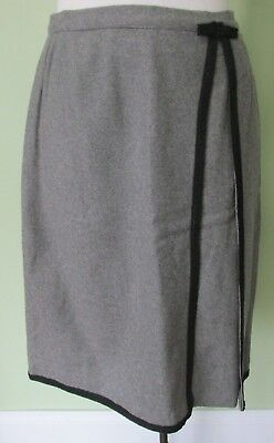 "Vintage Ladies 1960's Gray Wool Skirt W/ Black Braid Details/  26"" Waist"