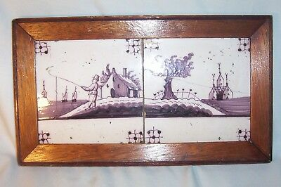 Two framed Delft Tile c. 18th  century   fisherman  House & Tree