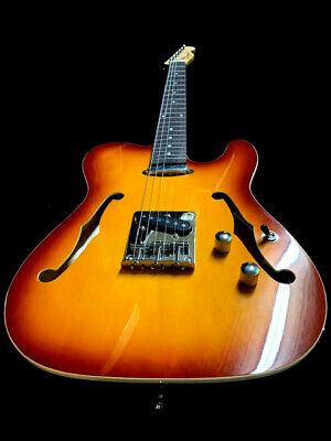 NEW LIGHTWEIGHT  Tele STYLE 6 STRING SEMI-HOLLOW SUNBURST ELECTRIC GUITAR