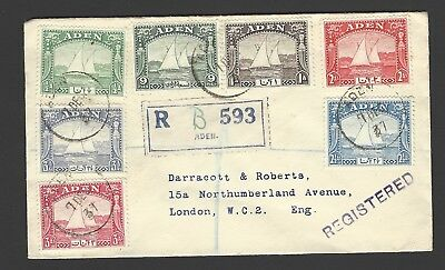 Aden 1937 Dhow values to 31/2a on 1937 registered cover to UK