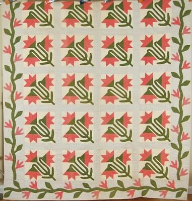 AMAZING Vintage 1860's Carolina Lily Antique Quilt, Vine Border ~MINT CONDITION!