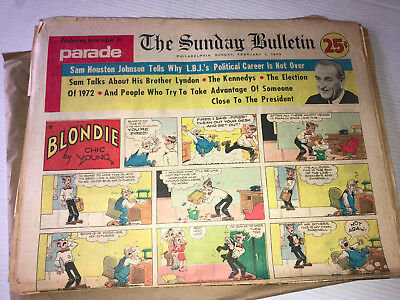 100 Mixed 1970's Sunday Pages- Peanuts, Dick Tracy, Prince Valiant, Wizard of ID