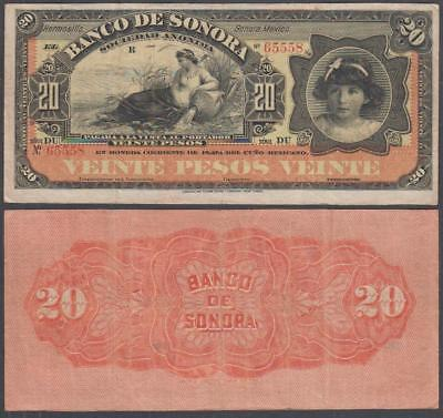 1899-1911 Mexican Revolutionary Banco De Sonora 20 Pesos