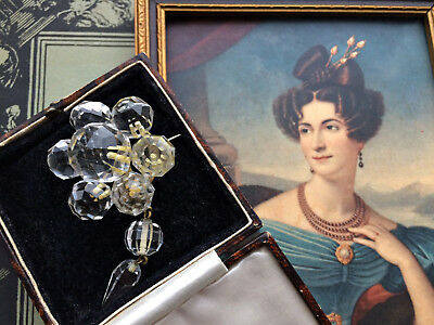 Very Rare Antique Georgian Rock Crystal Drop Brooch Pin Bridal Jewellery Gift