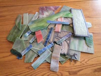 Lot Of Over 60 Pieces Antique Salavaged Stain Glass For Repairs