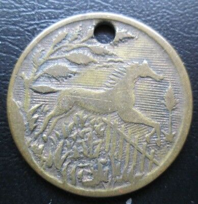 Horse Jumping Fence / Old Plow & Hay Pictorial Token,medal - Neat