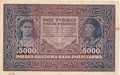 5000 Marek Vg-Fine Banknote From Poland 1919!pick-31!huge Sized