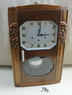 Antique Vedette France Walnut Hanging Wall Chime Clock Art Deco 5 Rod 5 Hammer