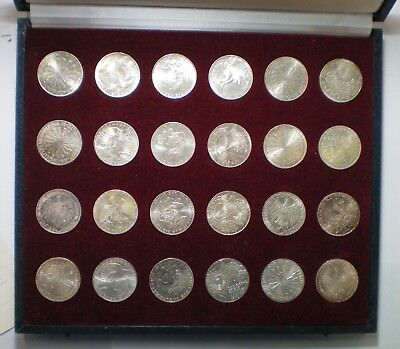 1972 Munich Germany Olympics Silver 24 Coin Set