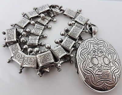 Victorian Antique Sterling Silver Heavy Ornate Collar Locket Pendant Chain