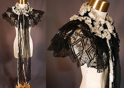 Victorian Black Chantilly Lace White Ruffle Pelerine Shawl Collar Cape Mantle