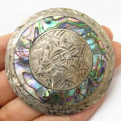 Vintage Mexico Signed 925 Silver Abalone Aztec Calendar Large Pin Brooch Pendant