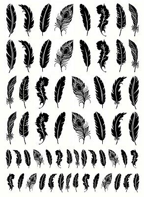 "Feathers 5"" X 3.5"" Card Black Fused Glass Decals 18CC972"