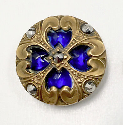 Early jeweled button with deep blue glass and steels. Beautiful and mint!