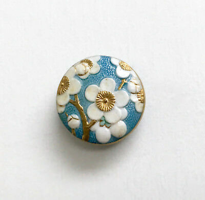 Small ARITA Dogwood Blossoms button in blue, white and gold. Signed. Mint.