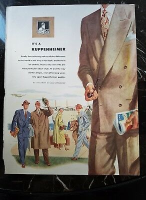 1948 mens Kuppenheimer double-breasted suit Overcoat fashion ad