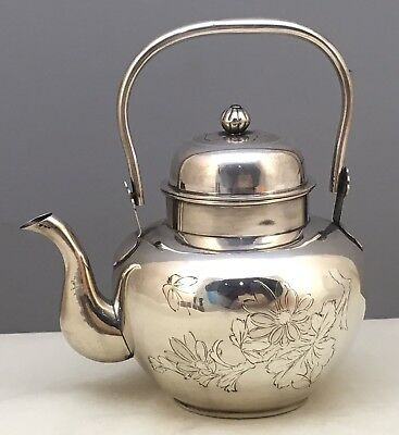 Beautiful Chinese 19th-20th Century Sterling Silver Teapot, Signed