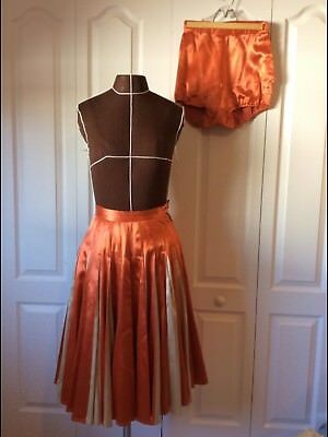 RARE VTG 40s/50s Satin Rayon 48 Panel Circle Skirt & Panties Circus Costume Set