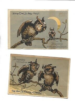 Two 1880s Boraxine Brown Owl Victorian Trade Cards