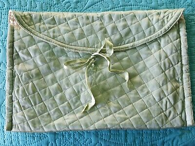 Vintage '50s Lingerie Bag-Light Green Quilted Fabric-Cream Lining-Larger Size