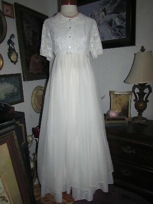 Vintage GOTHAM White Chiffon long Peignoir Robe Blue Lace Dressing Gown M
