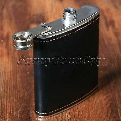 Pocket Whiskey Alcohol Wine Flagon Bottle PU Leather Steel 7oz Liquor Hip Flask