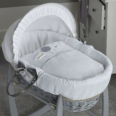 New Clair De Lune Grey Over The Moon Padded Grey Wicker Baby Unisex Moses Basket