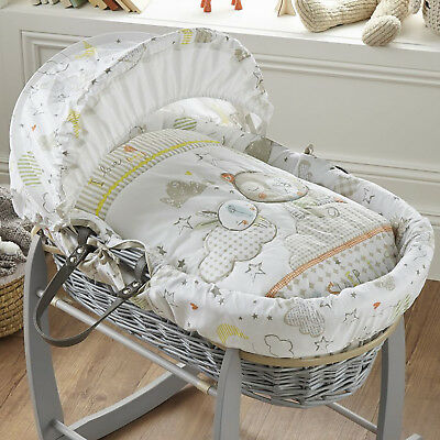 New Clair De Lune Sleep Tight Padded Grey Wicker Baby Unisex Moses Basket