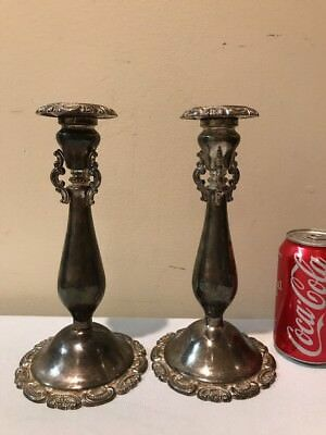 Vintage Wallace Baroque Ornate Silverplate Candle Holders (Pair) - 9u201d Tall & VINTAGE WALLACE BAROQUE Ornate Silverplate Candle Holders (Pair) - 9 ...