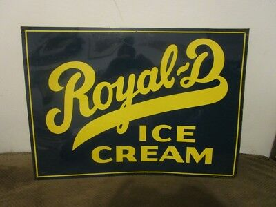 "Vintage 1940's-1950's Royal D Ice Cream Metal Sign-28"" x 20"""