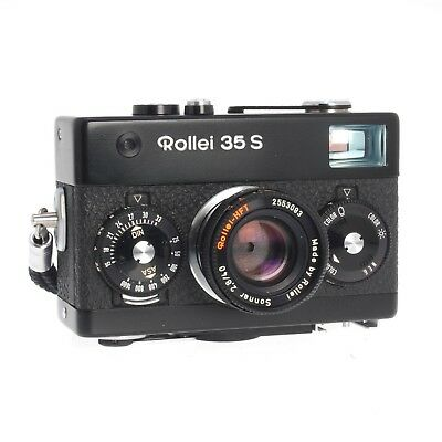 Rollei 35S Black Vintage 35MM FIlm Camera 40MM F2.8 Sonnar HFT Lens AS-IS