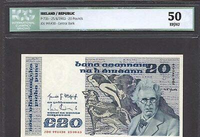IRELAND 20 Pounds 1983 Pick # 73b Central Bank w/ ICG certificate 50 EF/AU