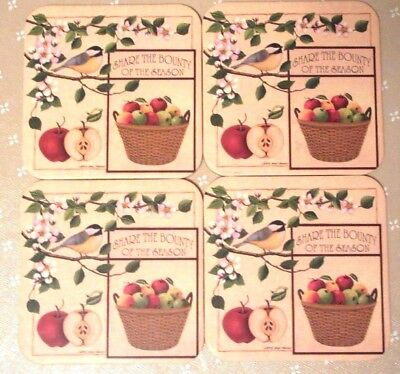 4 Longaberger Coasters SHARE THE BOUNTY OF THE SEASON Country Apples New