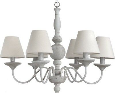 Shabby French Country Chic Grey Chandelier Ceiling Light With Shades