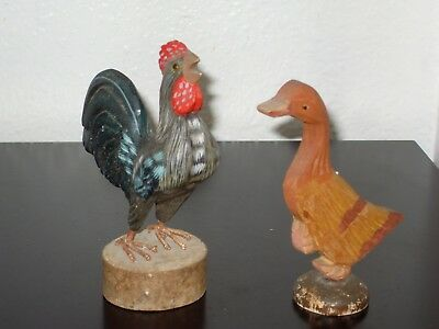 Hand Carved Wooden Barn Yard Poultry Rooster & Duck Figures