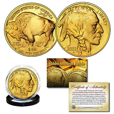 2017 24K Gold Plated $50 AMERICAN GOLD BUFFALO Indian Head TRIBUTE Coin *NEW*
