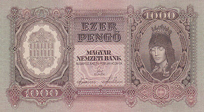 1000 Pengo From  Hungary 1943 Unc Crispy Banknote!pick-116!!rare