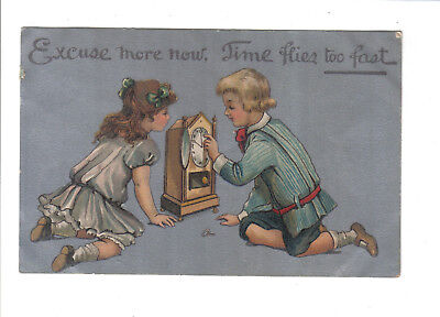 Vintage Postcard.Children playing with clock.Posted Brighton 1909