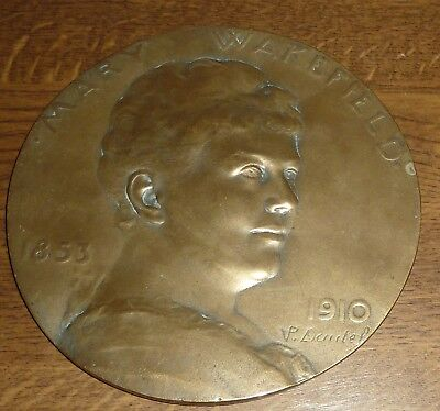Large Antique Bronze Medal Mary Wakefield 1853-1910 By P.v.dautel Choral Village