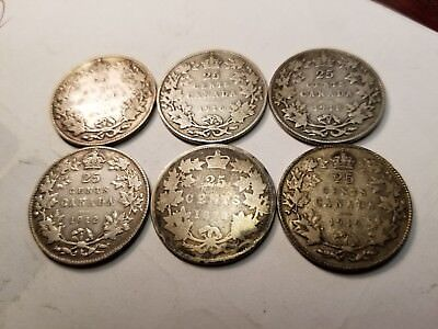 6   Silver Canadian 25 Cents Different Dates Circulated
