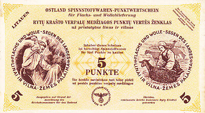 5 Punkte Very Fine Nazi Note From Lithuania 1945!!rare Note 100%original